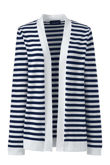 Women's Tall Long Sleeve Supima Stripe Open Cardigan Sweater