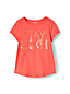 Girls' Short Sleeve Dipped Hem T-shirt With Foil Graphic