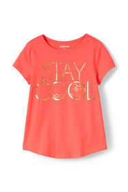 Girls Foil Curved Hem Graphic Tee Shirt