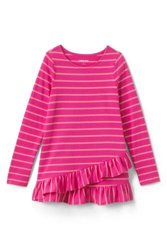 T-Shirt Graphique Long Ourlet Volanté Asymétrique, Petite Fille