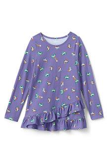 Girls' Asymmetric Ruffle Hem Print Tunic Top