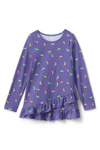 Little Girls' Asymmetric Ruffle Hem Print Tunic Top