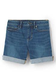 Women's Mid Rise Roll Cuff Curvy Blue Jean Shorts