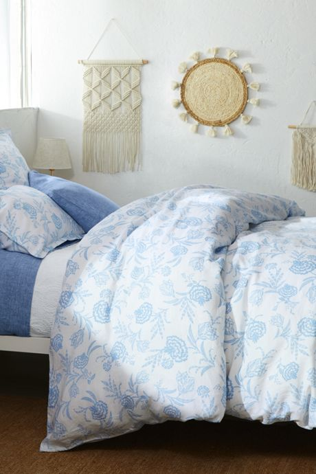 Garment Washed Linen Printed Duvet Cover