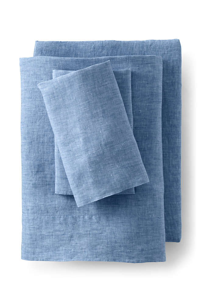 Garment Washed Chambray Linen Pillowcases, Front