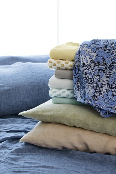 Garment Washed Linen Printed Pillowcases, Sheets, Bed, Home