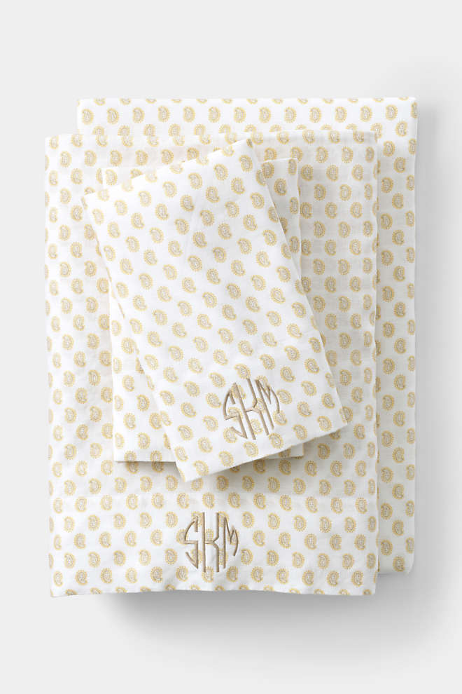 Garment Washed Linen Printed Sheets, Front