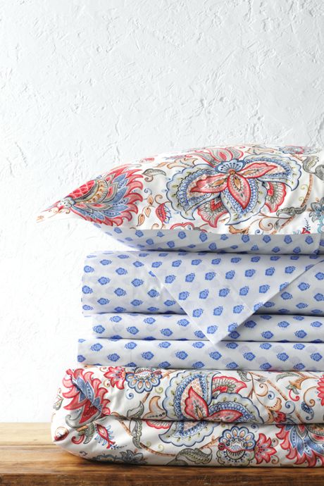 Italian Percale Patterned Reversible Duvet Cover