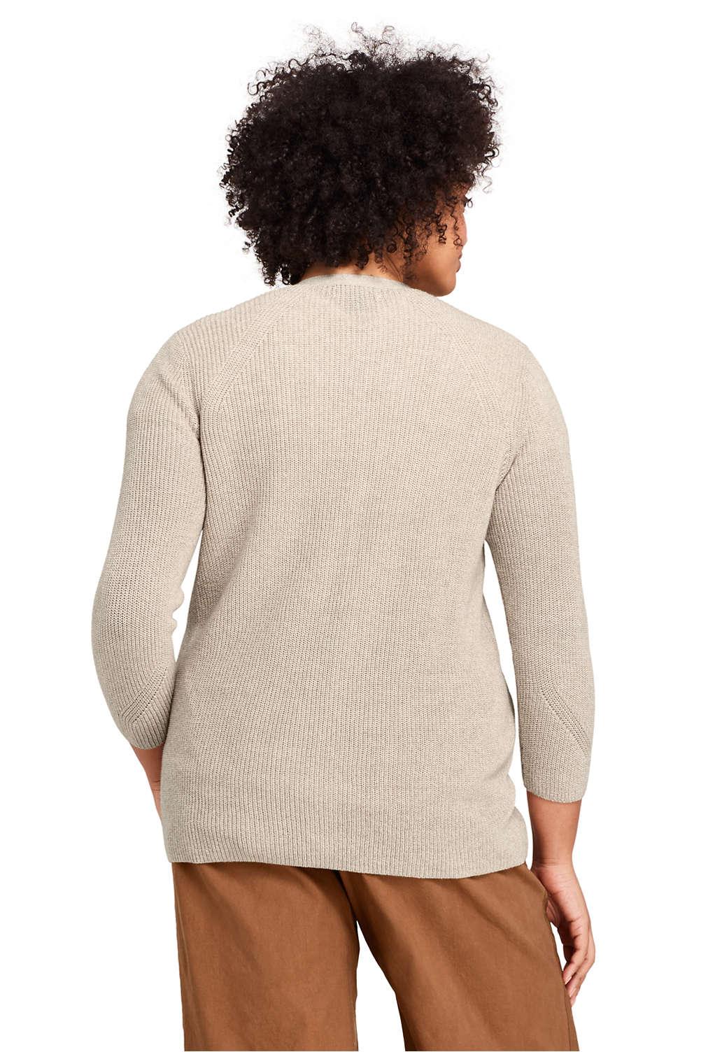 d1c27f4ef47 Women s Plus Size Linen Cotton 3 4 Sleeve Shaker V-neck Cardigan ...