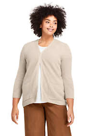Women's Plus Size Linen Cotton 3/4 Sleeve Shaker V-neck Cardigan Sweater