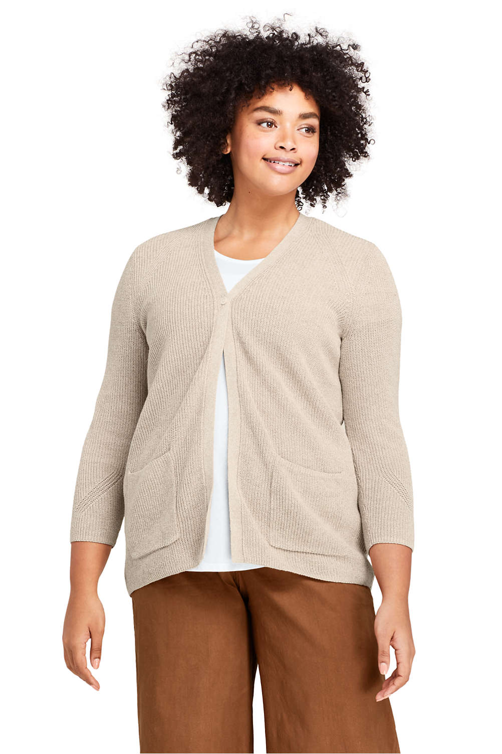 a6a14b14cbf Women s Plus Size Linen Cotton 3 4 Sleeve Shaker V-neck Cardigan Sweater  from Lands  End