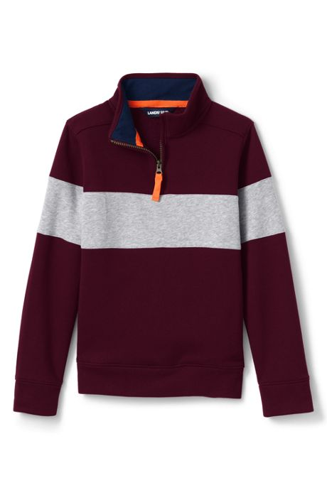 Little Boys Chest Stripe Quarter Zip Pullover