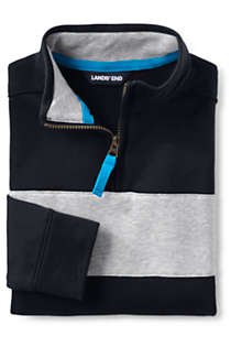 Little Boys Chest Stripe Quarter Zip Pullover, Front