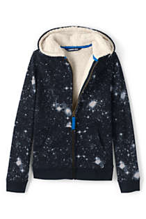 Little Kids Pattern Sherpa Lined Zip Hoodie, alternative image