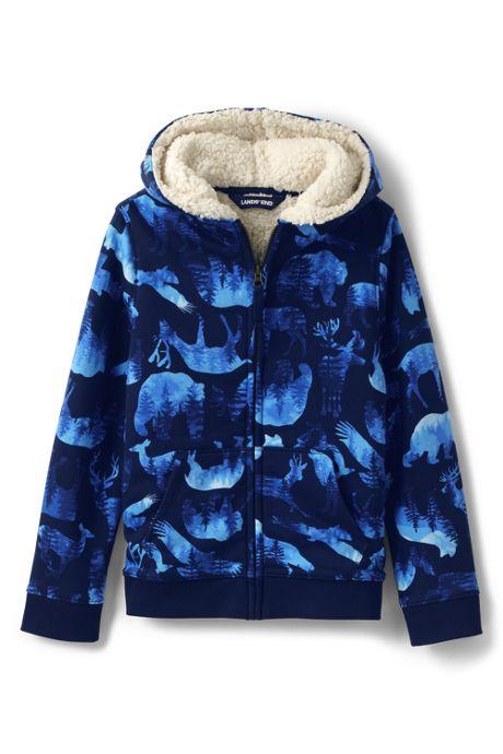 Kids Pattern Sherpa Lined Zip Hoodie