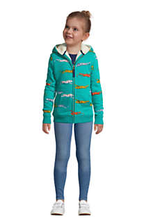 Little Kids Pattern Sherpa Lined Zip Hoodie, Front