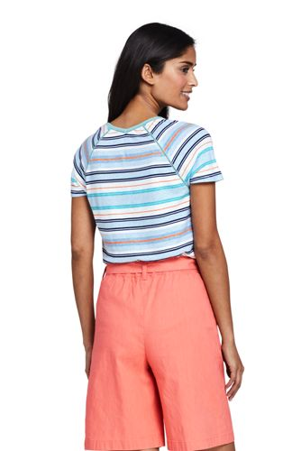 Lands' End - Stripe Linen/Cotton T-shirt with Ladder Trim - 2