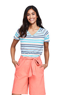 Women's Stripe Linen/Cotton T-shirt with Ladder Trim