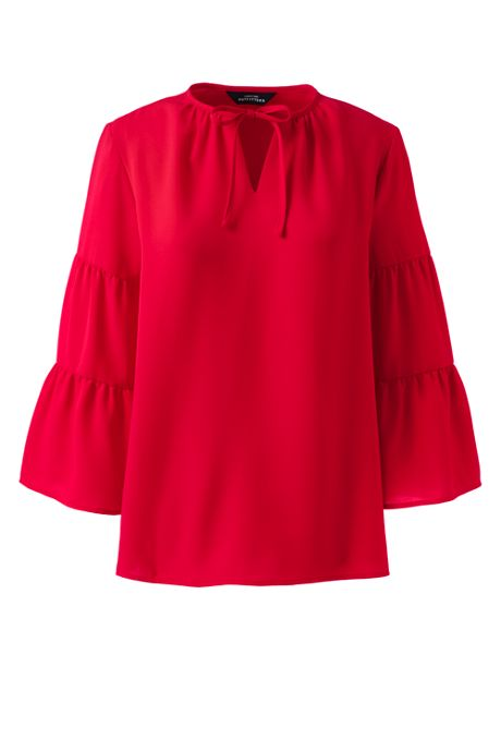 Women's Three Quarter Tiered Sleeve Tie Neck Crepe Blouse