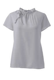 Women's Petite Short Sleeve Tie Ruffle Neck Crepe Blouse