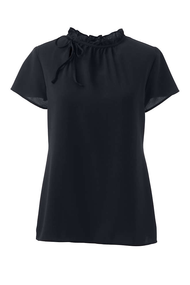 Women's Short Sleeve Tie Ruffle Neck Crepe Blouse, Front