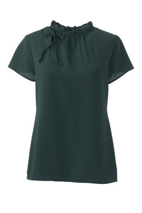 Women's Short Sleeve Tie Ruffle Neck Crepe Blouse