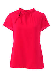 Women's Short Sleeve Tie Ruffle Neck Crepe Blouse