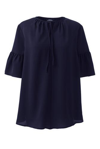 Women's Maternity Short Sleeve Tie Neck Crepe Blouse