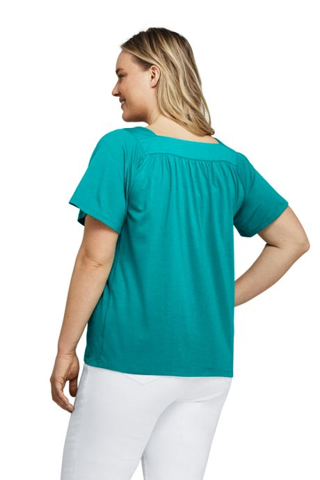 Women's Plus Size Short Sleeve Square Neck Top