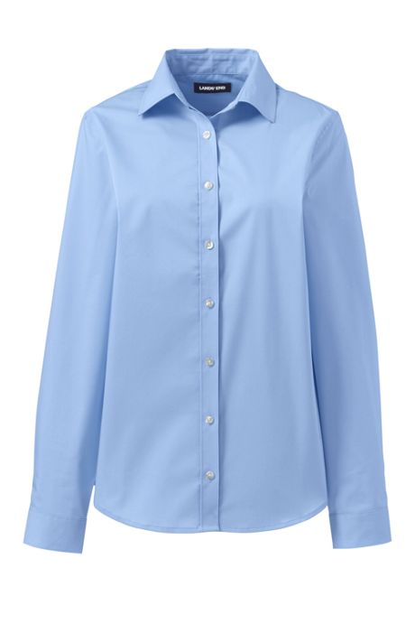 School Uniform Women's No Gape Long Sleeve Stretch Shirt