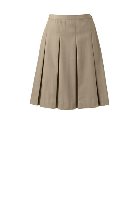 School Uniform Women's Poly-Cotton Box Pleat Skirt Top of Knee