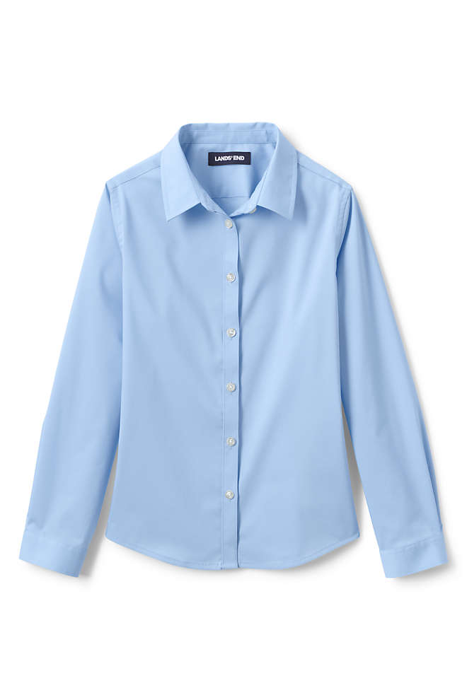 Girls No Gape Long Sleeve Stretch Shirt, Front