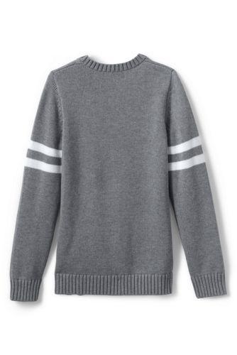 Girls Cotton Modal Collegiate Stripe Sleeve Cardigan Sweater
