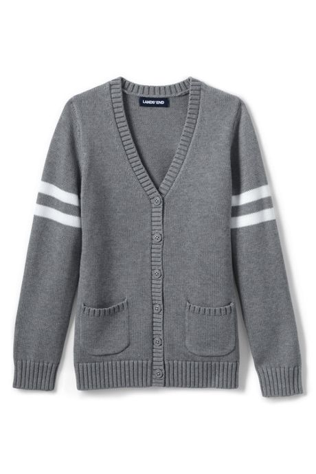Girls Cotton Modal Collegiate Stripe Sleeve Cardigan Sweater