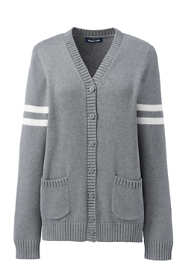 School Uniform Women's Cotton Modal Collegiate Stripe Sleeve Cardigan Sweater