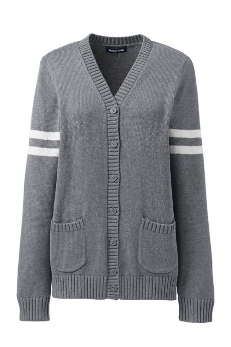 Women's Cotton Modal Collegiate Stripe Sleeve Cardigan Sweater