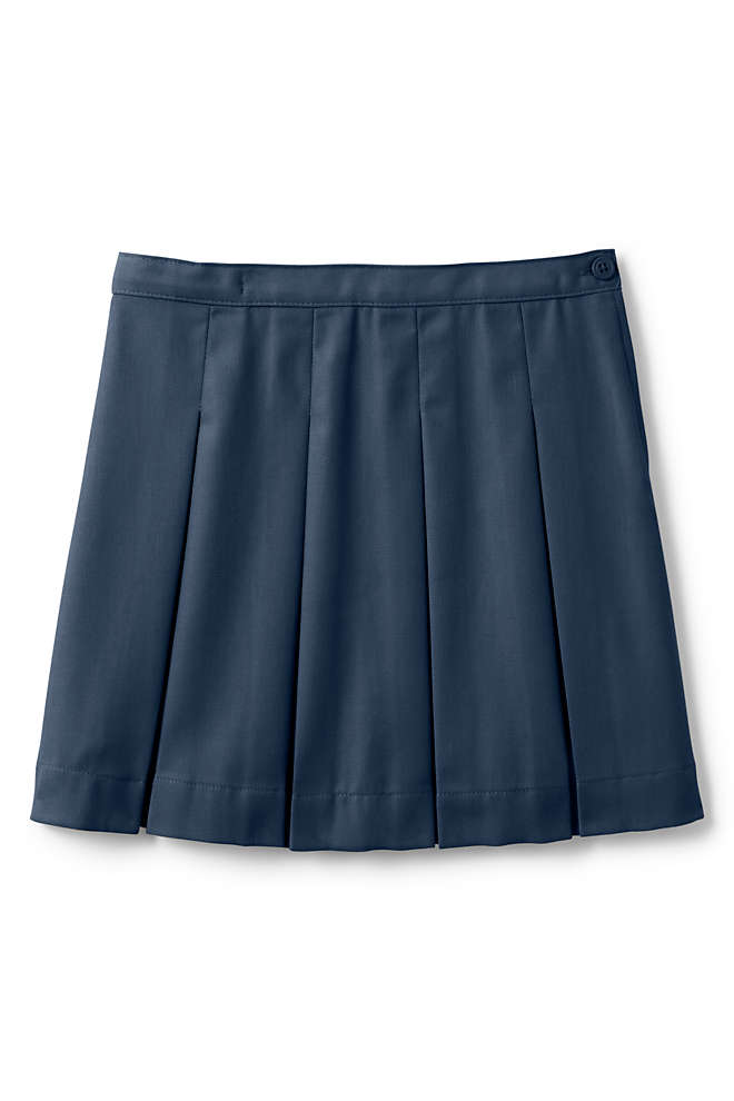 School Uniform Girls Poly-Cotton Box Pleat Skirt Top of Knee, Front