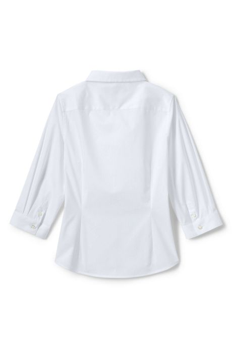 School Uniform Girls No Gape 3/4 Sleeve Stretch Shirt