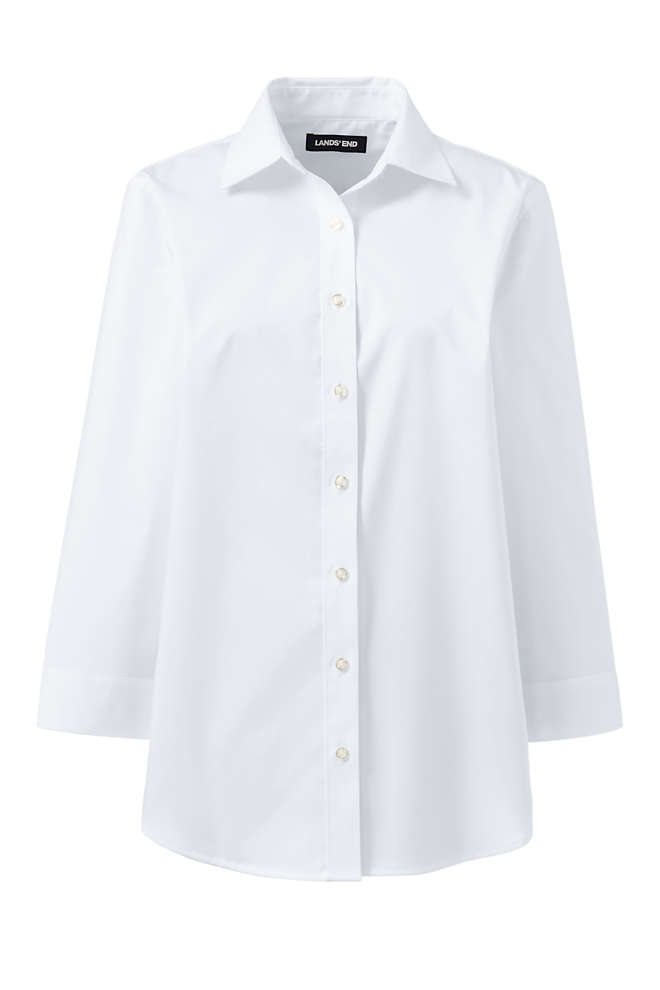 School Uniform Women's No Gape 3/4 Sleeve Stretch Shirt, Front