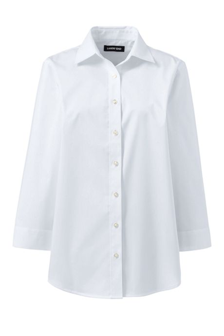 School Uniform Women's No Gape 3/4 Sleeve Stretch Shirt