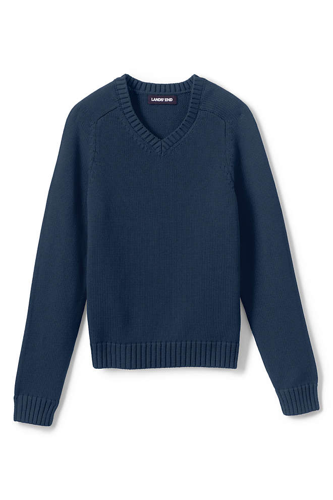 School Uniform Kids Cotton Modal V-neck Sweater, Front