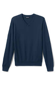 School Uniform Men's Cotton Modal Fine Gauge V-neck Sweater