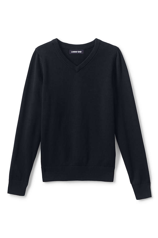 Boys Cotton Modal Fine Gauge V-neck Sweater, Front