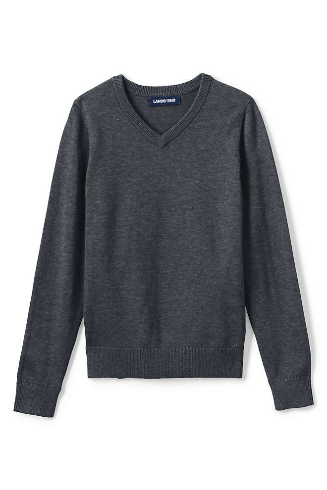 Little Boys Cotton Modal Fine Gauge V-neck Sweater, Front