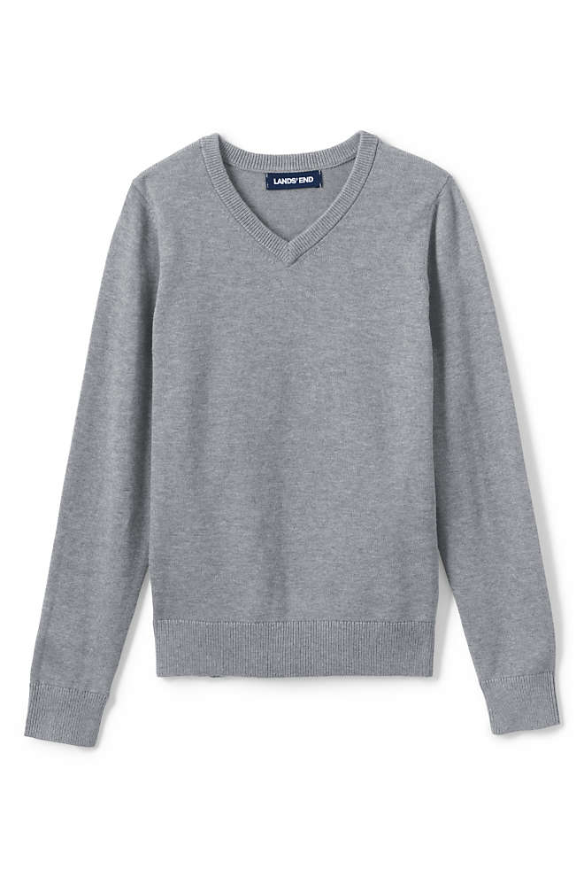 School Uniform Boys Cotton Modal Fine Gauge V-neck Sweater, Front