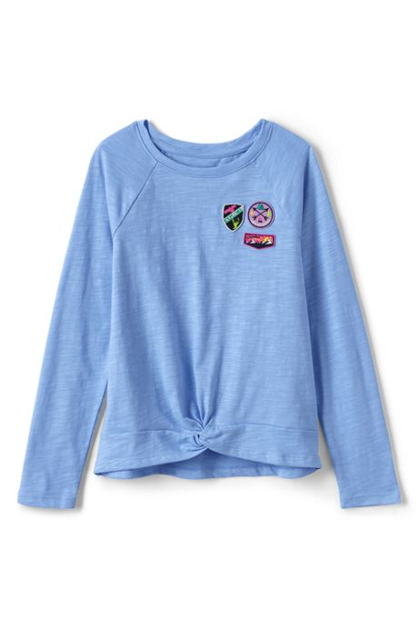 Little Girls Knot Front Graphic Top