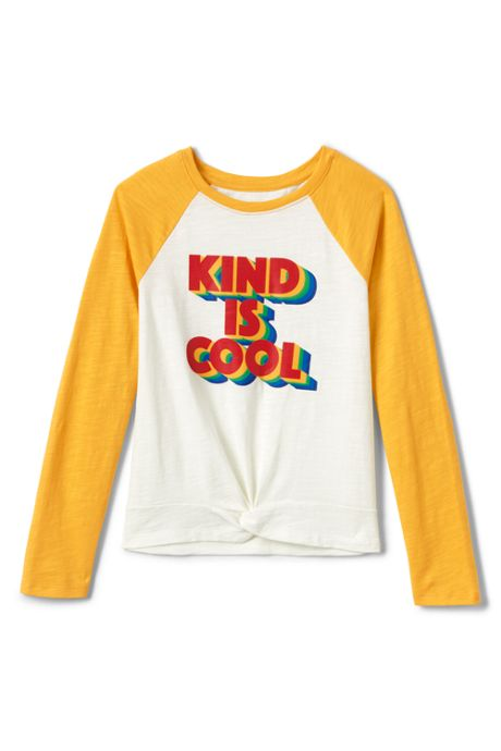 Girls Knot Front Graphic Top