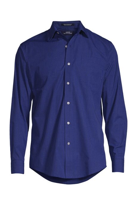 Men's Big Long Sleeve Straight Collar Patterned Broadcloth Shirt