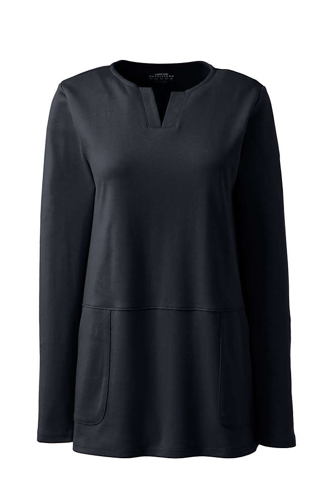 Women's Cotton Polyester Long Sleeve Tunic with Pockets, Front