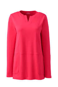 Women's Plus Size Cotton Polyester Long Sleeve Tunic with Pockets